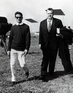 Happy Birthday #OrsonWelles #botd May 6,1915, here pictured with Pier Paolo #Pasolini on the set of #LaRicotta,1963.