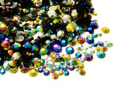 1200 Assorted Colors Mixed Sizes Jelly AB Flatback Resin Rhinestones 3/4/5/6MM