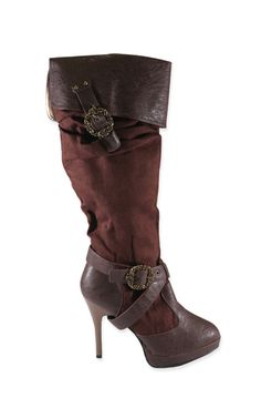 Tall Sueded Buckle Boot - Brown Faux Leather