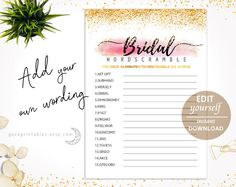 Editable Pdf Bridal Shower Word Scramble Printable Games Download Wedding Activity Unscramble Gold Pink