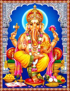 Ganapati Sitting on Throne - Hindu Posters (Reprint on Paper - Unframed) Lord Shiva Hd Images, Ganesh Images, Ganesha Pictures, Ganesh Lord, Shri Ganesh, Durga, Shiva Parvati Images, Lakshmi Images, Shiva Shakti