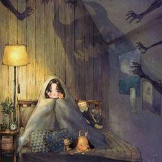 혼자 있기 무서운 밤 http://grafolio.com/illustration/167032  #귀신 #불면증 #일러스트 #일러스트레이션 #동심 #소녀 #무서움 #침실 #scare #night #bedroom #girl #illust #illustration #drawing #sketch #paint #horror