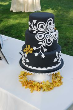 A cake that I had Jana's Creative Cakes create my Battle of the Wedding Designers episode pitch. It was inspired from a Hawaiian quilt. Totally executed my vision! Final version was black and hot pink detailing with the grooms cake being pink with black detailing.
