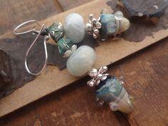 Aquamarine Earrings Artisan Lampwork Glass Glass by FeminineGenius