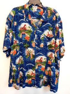 Walt Disney World Mickey Mouse Hawaiian Style Button Up Shirt Men's XXL Vintage…