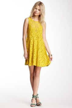 {Miles of Lace Tank Dress in Chartreuse} Free People
