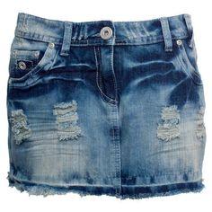 Denim Distressed Denim Mini Skirt ($19) ❤ liked on Polyvore