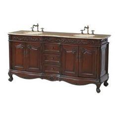 Stufurhome Saturn Double Sink Vanity with Travertine Marble Top - Dark Cherry Granite Vanity Tops, Granite Tops, Marble Vanity Tops, Marble Top, Double Sink Vanity, Vanity Sink, Bathroom Furniture, Bathroom Ideas, Modern Bathroom
