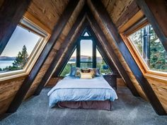 Decorative Rocks Ideas : Amazing A-frame cabin with hot tub 2 fireplaces & more. Lakeview Tree House is like the Tahoe City vacation home you dream about but its real and waitin A Frame Cabin, A Frame House, Cabin Homes, Log Homes, Interior And Exterior, Interior Design, Bedroom Loft, Bedroom Decor, A Frame Bedroom