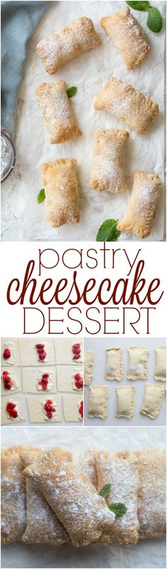 Pastry sheets with a Cherry Cheesecake filling. So easy and delicious.
