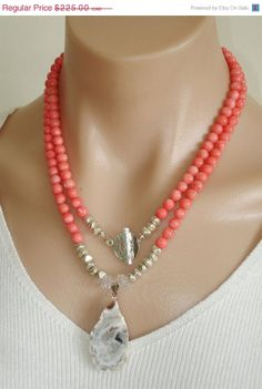 ON SALE Ashira Coral Gemstone Necklace and Hand Selected Druzy Geode Pendant and Sterling Silver Toggle