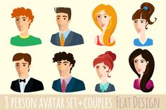 Vector Set of flat design people by VasilkovS on Creative Market
