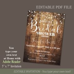 Rustic Wood and Lights Bridal Shower Invitation