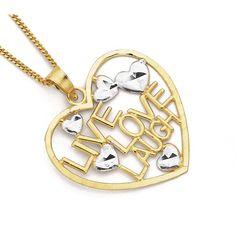 9ct Gold 'Live, Love, Laugh' Heart Pendant