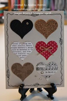 Naturals Ivory card base with a bordered doodled around the edges. Within the border are six hearts punched from paper with different patterns, colors and textures.