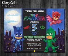 PJ Masks Invitation Birthday By ClassyOwlDesigns On Etsy