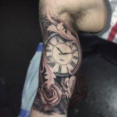 Tattoo, black ink tattoos, grey tattoo, small tattoos, tattoos for Bicep Tattoo Men, Inner Bicep Tattoo, Forarm Tattoos, Baby Tattoos, Arrow Tattoos, Life Tattoos, Tattoos For Guys, Clock Tattoo Sleeve, Full Sleeve Tattoos
