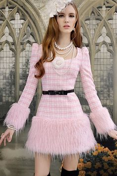 Check Print Pink Worsted Dress $126.00  http://www.oasap.com/dresses/22994-check-print-pink-worsted-dress.html