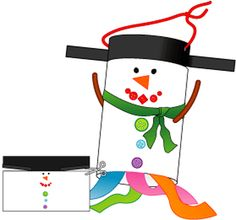 Duplicate pattern on white paper. Provide glue and a variety of supplies. Cut out pattern. Use the craft supplies to decorate the middle of the white portion to resemble a snowman. Form the snowman's hat and body into a cylinder and staple it. Gently pull out the cut sections to resemble the brim of the hat. Add details like a fabric scarf and pipe cleaner arms (poked in). Glue crepe paper streamers to the bottom. Make hanger by punching a hole in each side of the hat.