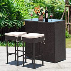 This table has 2 shelves that you can put things underneath the bar so you don't need to fetch over and over again. Made of PE wicker and sturdy frame, the set has a large weight capacity and is weather-proof for long time service. Red Bar Stools, Bar Table And Stools, Patio Bar Stools, Patio Bar Set, Bar Dining Table, Bar Tables, Rattan, Wicker, Bar Stool Cushions