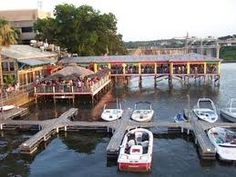 Hula Hut which describes its cuisine as Carribi-Mex, is always a hit with visitors to Austin. Seating is located on shore, on the pier, and when weather permits, under the thatched roof pavilion on Lake Austin.