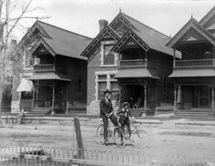 Residences and two bicycles :: Western History, 1893, 1890 - 1900