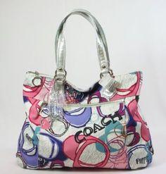 NEW AUTHENTIC COACH POPPY MONTAGE PRINT GLAM HANDBAG TOTE (Multi/Silver). Eye catcher! #coach #newedition #poppy #handbag #purse #tote $198.