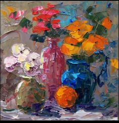 Unknown artist. This a texture painting. This painting has a lot thick rich layers of acrylic paint. I like how the vases look shattered and the petals pop out like 3-D. Good texture.