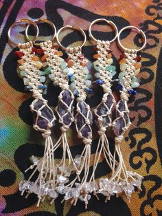 CRYSTAL KEYCHAIN chakra gemstone and amethyst by HappyHempCrafts