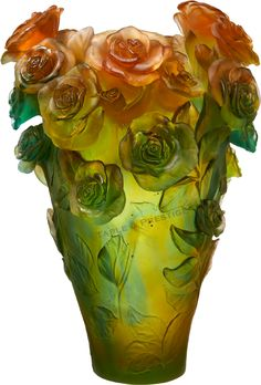 Daum Art-Glass Crystal Rose Passion Magnum Vase - Green and Orange - Limited Edition of Visit addisoncollection. Art Nouveau, Art Deco, Art Of Glass, Glass Vase, Vase Cristal, Glas Art, Crushed Glass, Crystal Vase, White Vases