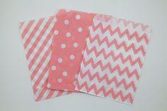CORAL PINK Chevron Diagonal Stripe Polka Dot Kraft by worthyParty, $4.85