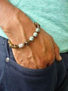 Men's Spiritual Protection, Good Fortune Bracelet with Semi Precious Tiger's Eye, Green Silktstone, Tibetan Bali Buddha, Brass and Gunmetal #men'sjewelry