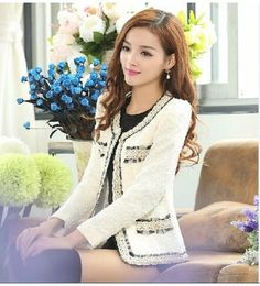 New spring autumn women's cute princess black white color block tweed woolen short coat lace long sleeve jacket casacos XXXL(China (Mainland))