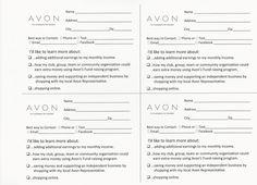 Avon Survey Cards