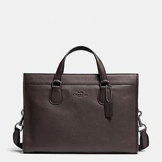 COACH Mens Leather Business Bags | Smith Brief In Pebble Leather