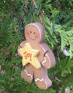 Wood Gingerbread Man Ornament with a star