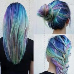Her hair looks like the northern lights I love this. I don't think I could ever do it but it's awesome!