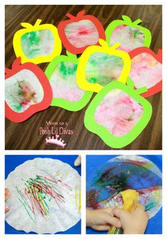 Coffee Filter Apple Art     The kids really enjoyed our coffee filter apple art. They all came out unique and it was fun to see how they all got into it - especially the water spraying part! For a full how to you can see my earlier post here.