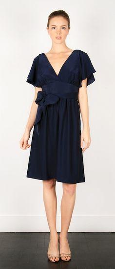 Deep V dress with flutter sleeves and full skirt. Shown in nautical matte silk.