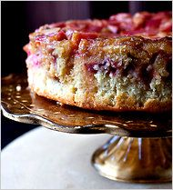 Rhubarb Upside-Down Cake by Melissa Clark: Warm, gooey, sweet and tart! #Rhubarb #Cake #Melissa_Clark