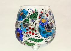 Large Wine Glass, Red Glass, Stained Glass Flowers, Fused Glass Art, Pebeo Porcelaine 150, Cadeau Couple, Painted Glass Bottles, Glass Painting Designs, Hand Painted Wine Glasses