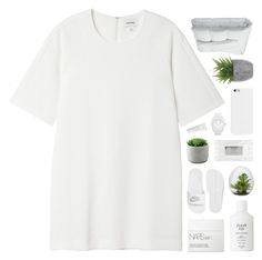 """-- day one of #kams50ksetchallenge"" by feels-like-snow-in-september ❤ liked on Polyvore featuring Monki, NIKE, Frette, Lux-Art Silks, Fresh, NARS Cosmetics, Stila, adidas, Byredo and fans"