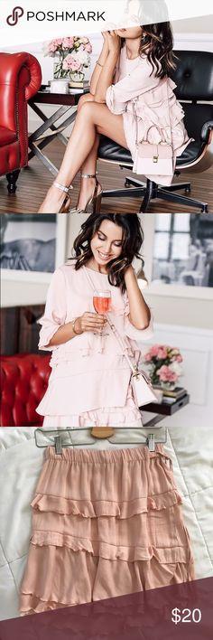 WhoWhatWear Target Pink Ruffle Skirt and Top Set As seen on VivaLuxury. Skirt is NWT. Top is worn once. WhoWhatWear Dresses Mini