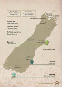 Bill ✔️ Tribes of the South Island From NZTE's Māori Cultural Kit for people wanting to do business with Māori organisations, a map showing tribal boundaries of New Zealand's Māori iwi. Ppcv