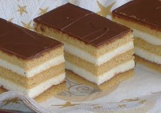 Nászutas szelet Hungarian Desserts, Hungarian Recipes, Cookie Recipes, Dessert Recipes, European Dishes, Sweet Cookies, Cake Bars, Dessert Drinks, Food And Drink
