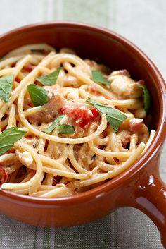 pasta met spekjes en feta