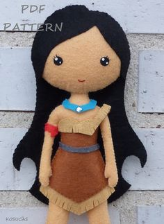 PDF sewing pattern to make the doll felt inspired in Pocahontas 7.8 inches tall. It is not a finished doll. Includes tutorial with pictures and step by
