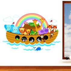 Noah's Ark - Children's Jungle Animal Mural Wall Sticker -  Nursery Art Vinyl Decal Transfer - Designed by Rubybloom Designs