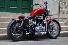 Red Baron ~ 500cc Royal Enfield Bobber by Bulleteer Customs | 350CC.com