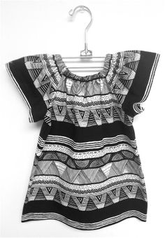 littlefour black and white geo toddler peasant dress